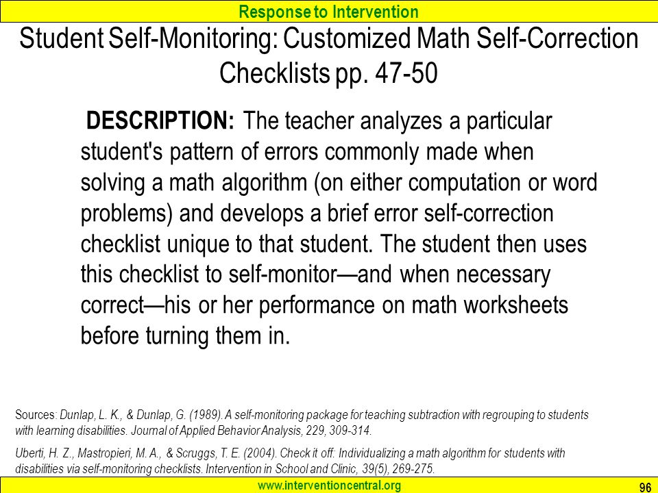 Student Self-Monitoring: Customized Math Self-Correction Checklists pp