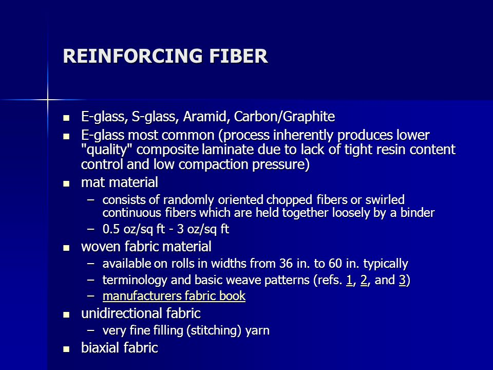 REINFORCING FIBER E-glass, S-glass, Aramid, Carbon/Graphite