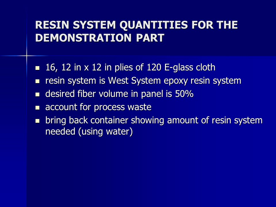 RESIN SYSTEM QUANTITIES FOR THE DEMONSTRATION PART