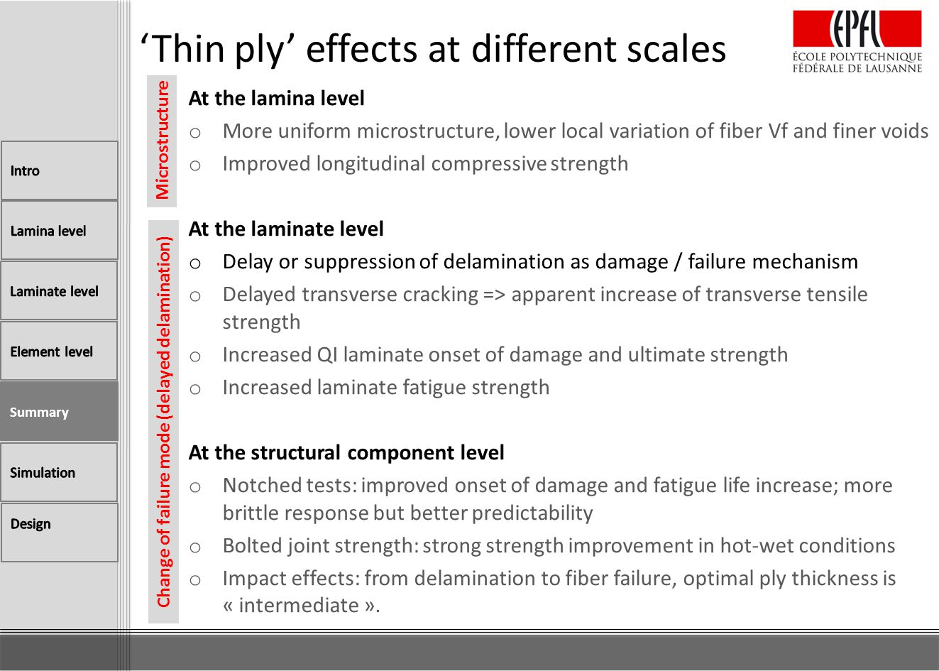 'Thin ply' effects at different scales