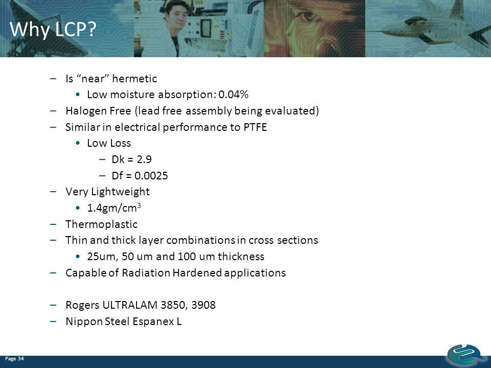Why LCP Is near hermetic Low moisture absorption: 0.04%