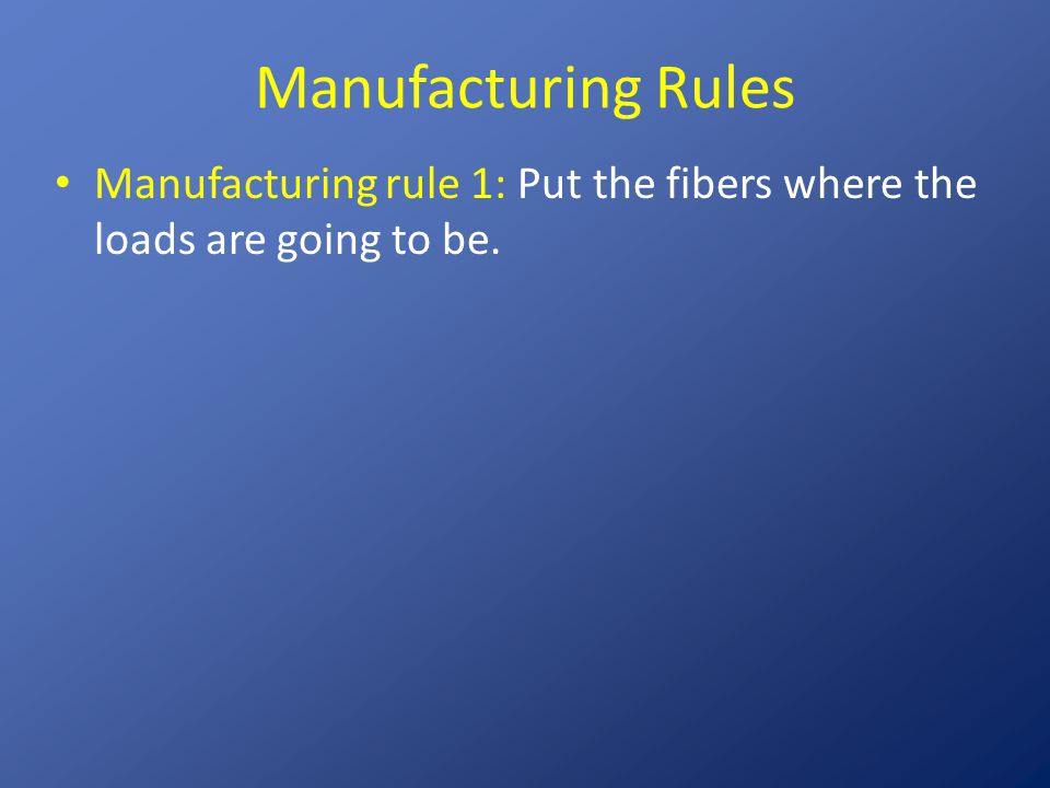 Manufacturing Rules Manufacturing rule 1: Put the fibers where the loads are going to be.