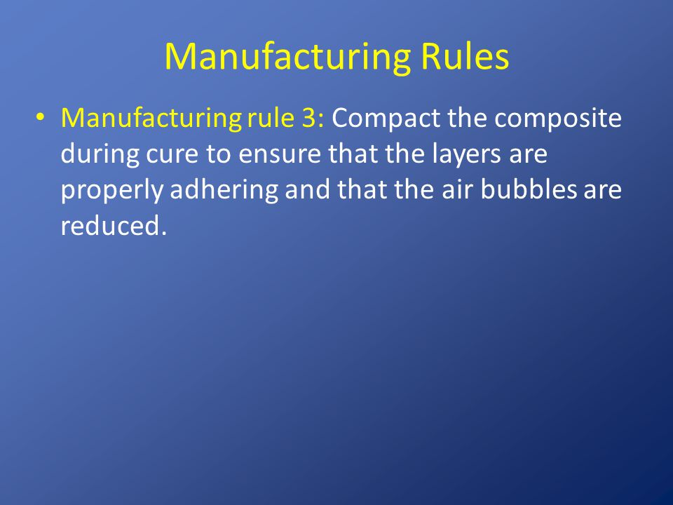 Manufacturing Rules