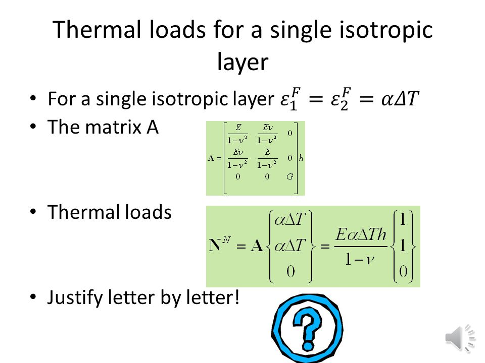 Thermal loads for a single isotropic layer