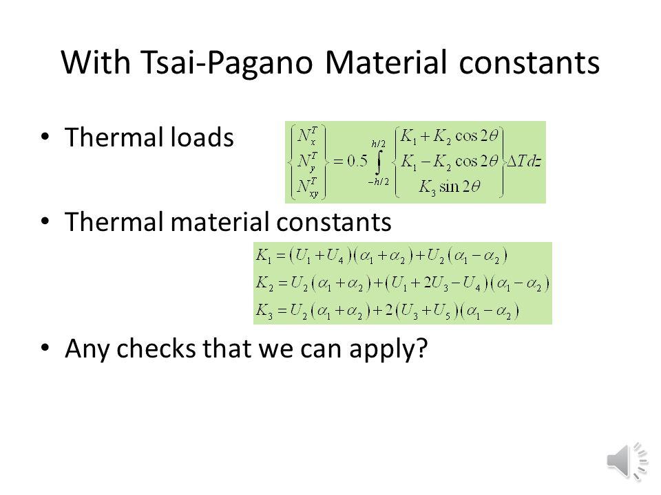 With Tsai-Pagano Material constants