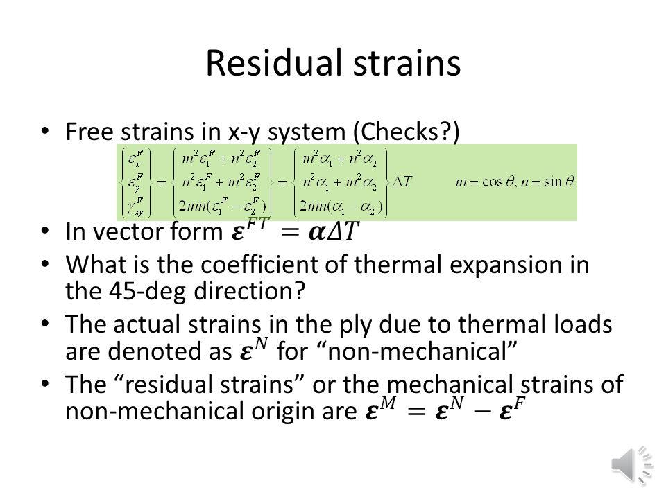 Residual strains Free strains in x-y system (Checks )