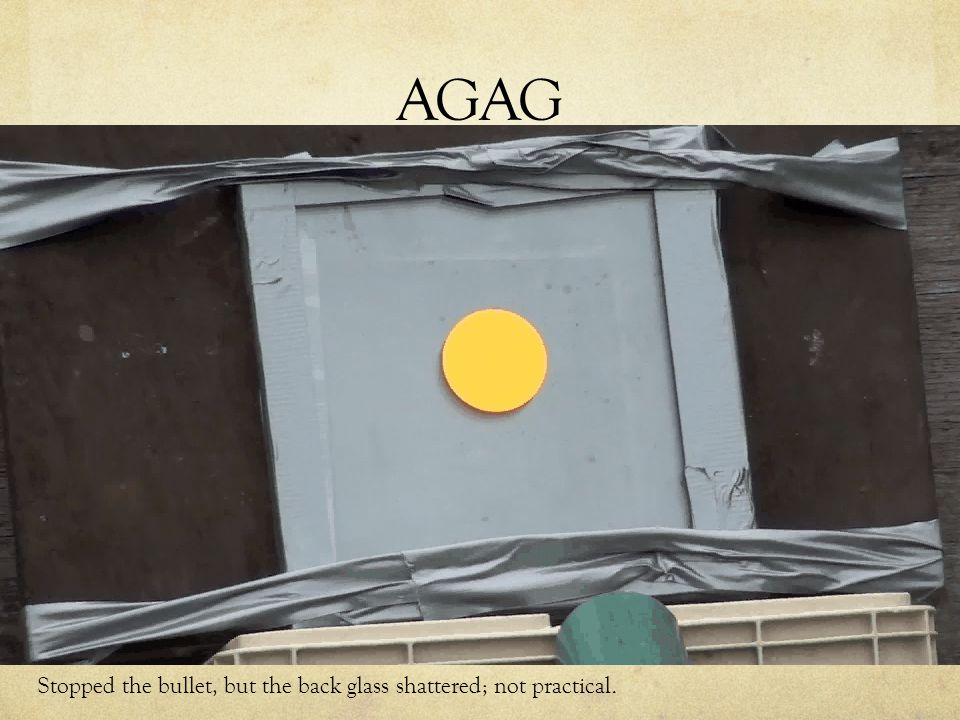 AGAG Stopped the bullet, but the back glass shattered; not practical.