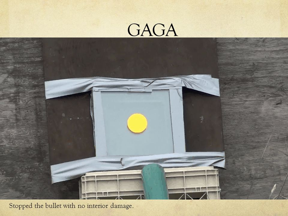 GAGA Stopped the bullet with no interior damage.