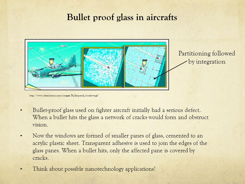 Bullet proof glass in aircrafts