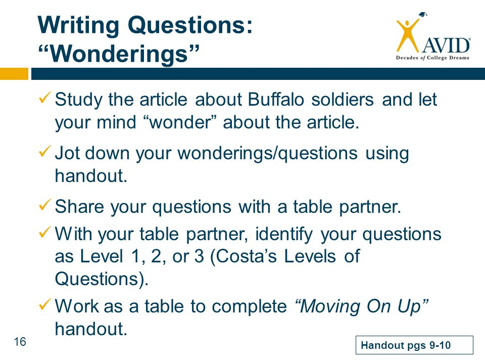 Writing Questions: Wonderings