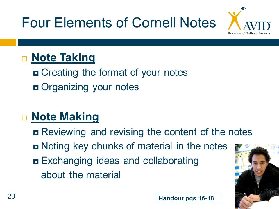 Four Elements of Cornell Notes