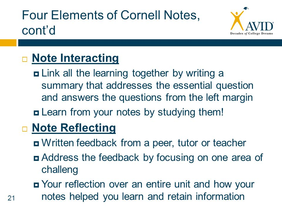 Four Elements of Cornell Notes, cont'd