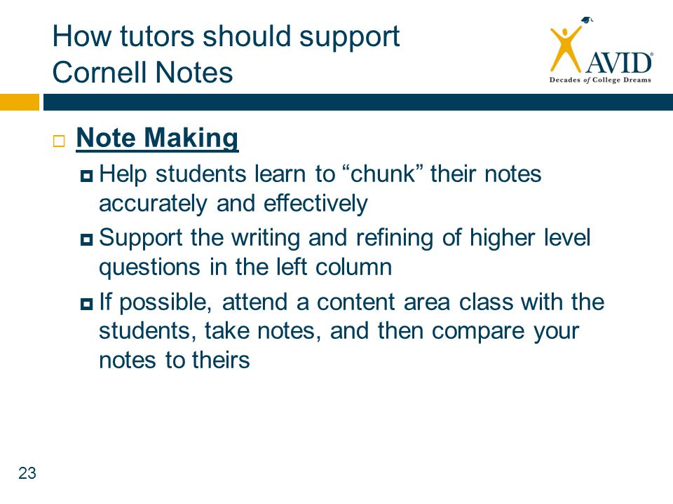 How tutors should support Cornell Notes
