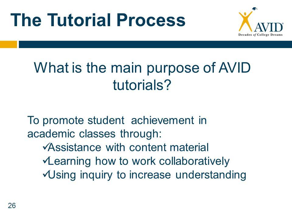 What is the main purpose of AVID tutorials