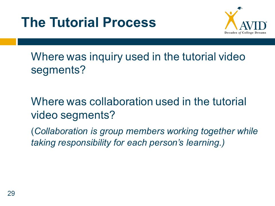 The Tutorial Process Where was inquiry used in the tutorial video segments Where was collaboration used in the tutorial video segments