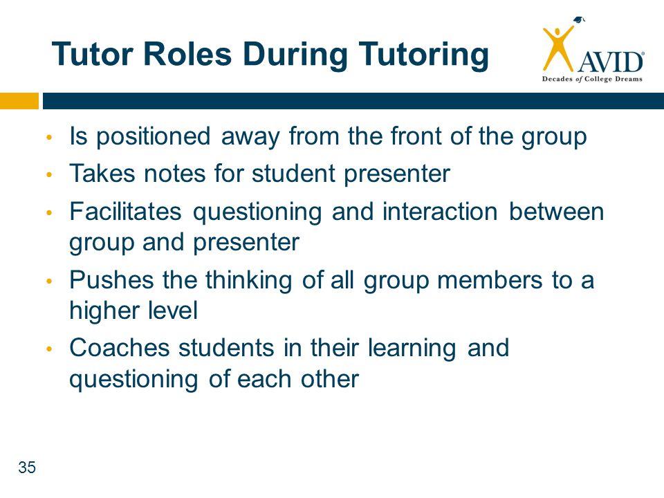 Tutor Roles During Tutoring