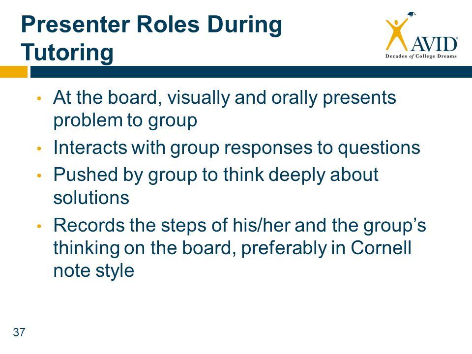 Presenter Roles During Tutoring