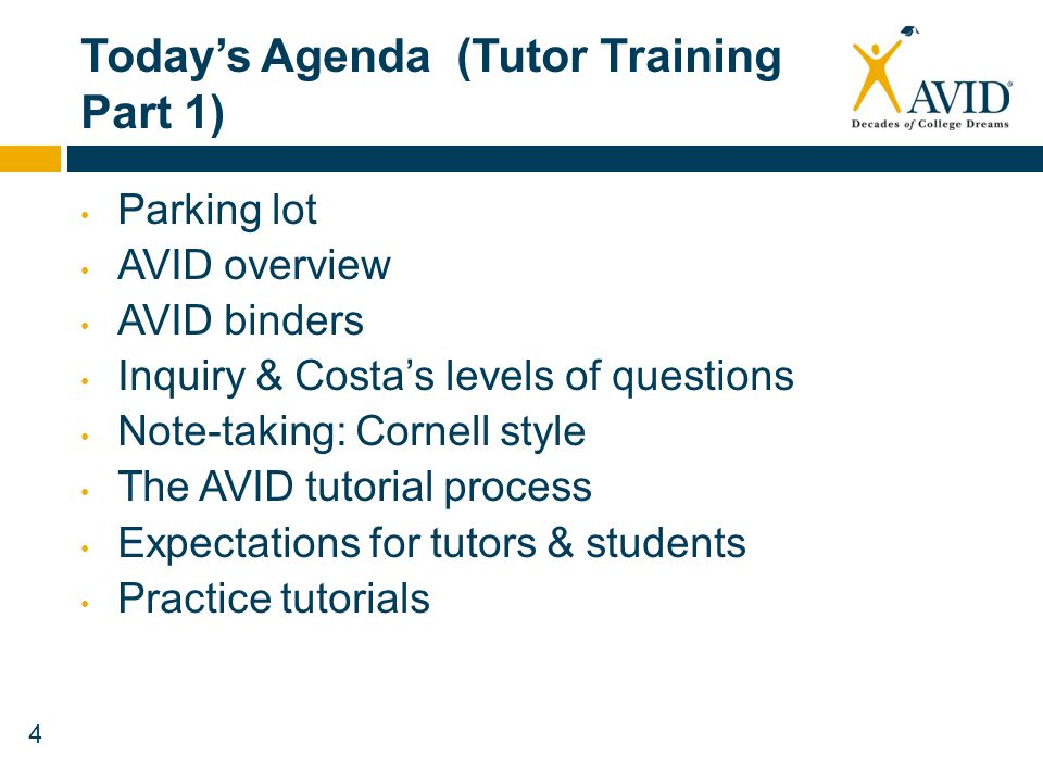 Today's Agenda (Tutor Training Part 1)