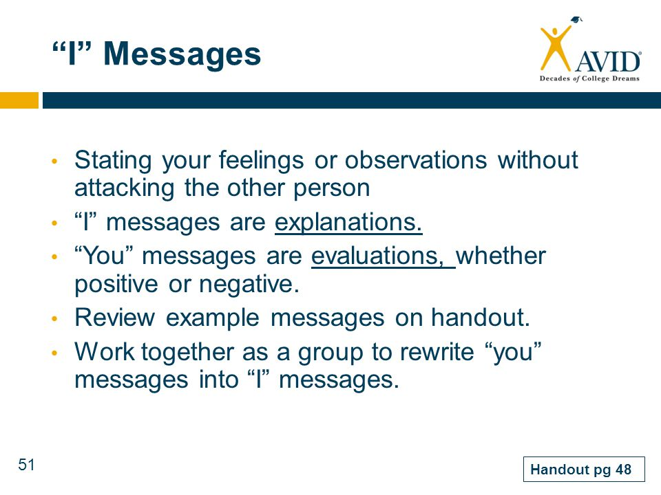 I Messages Stating your feelings or observations without attacking the other person. I messages are explanations.