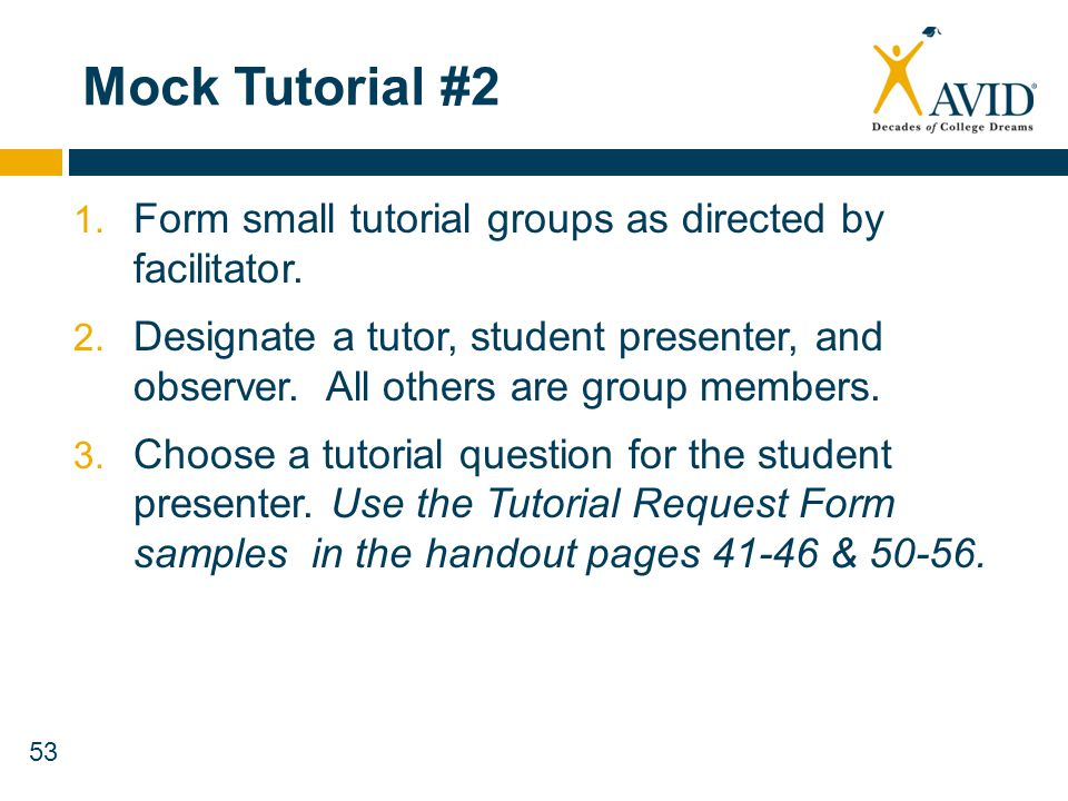 Mock Tutorial #2 Form small tutorial groups as directed by facilitator.