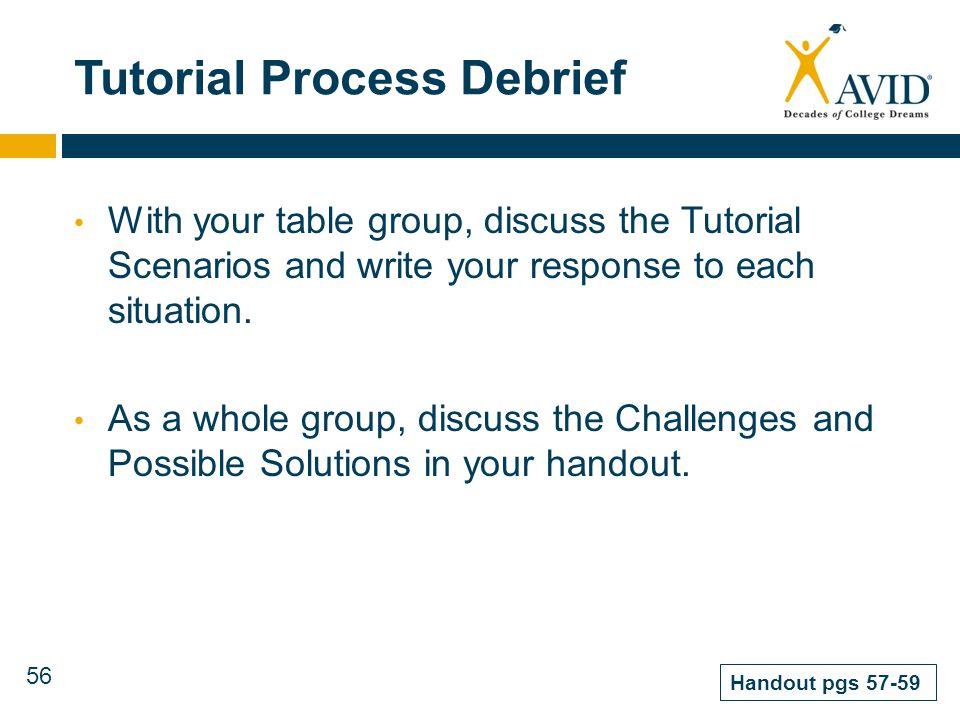 Tutorial Process Debrief