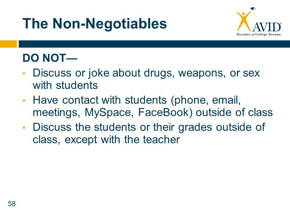 The Non-Negotiables DO NOT—