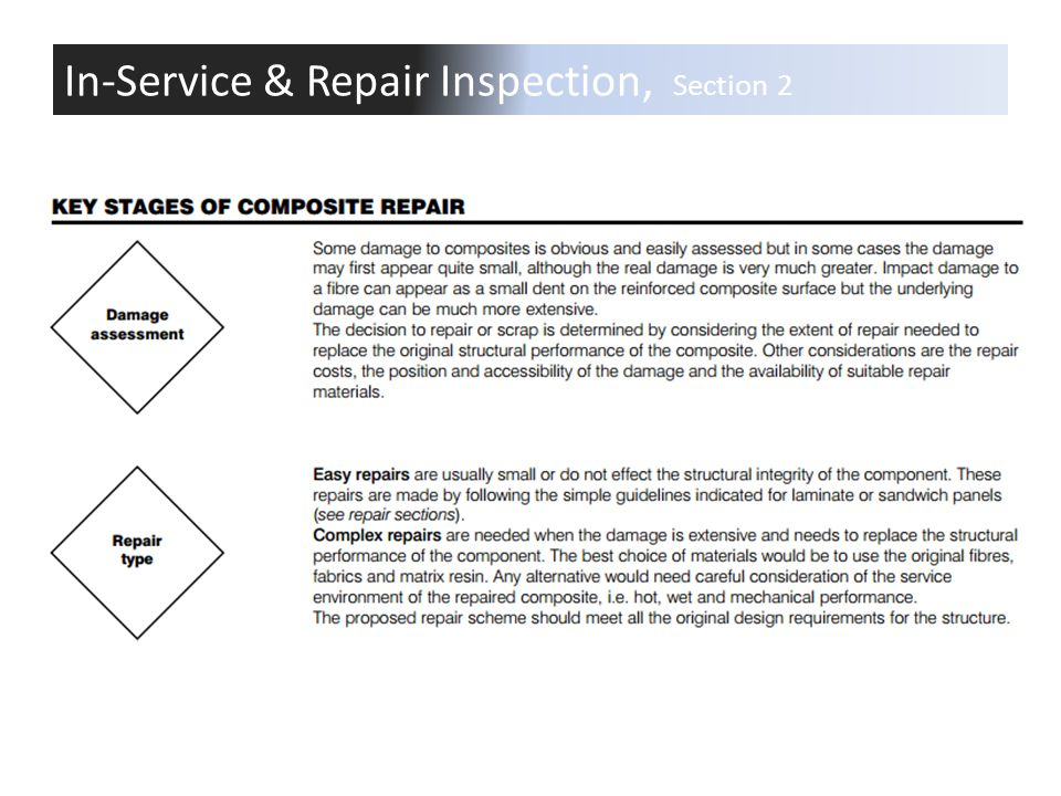 In-Service & Repair Inspection, Section 2