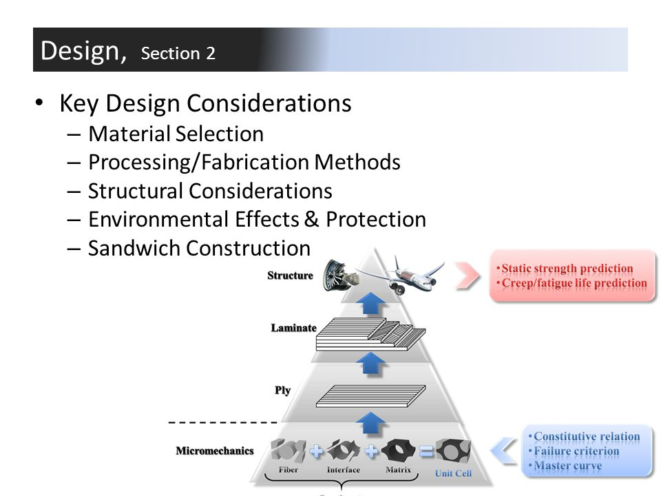 Design, Section 2 Key Design Considerations Material Selection