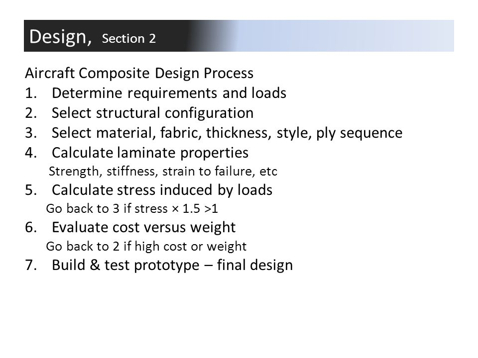 Design, Section 2 Aircraft Composite Design Process