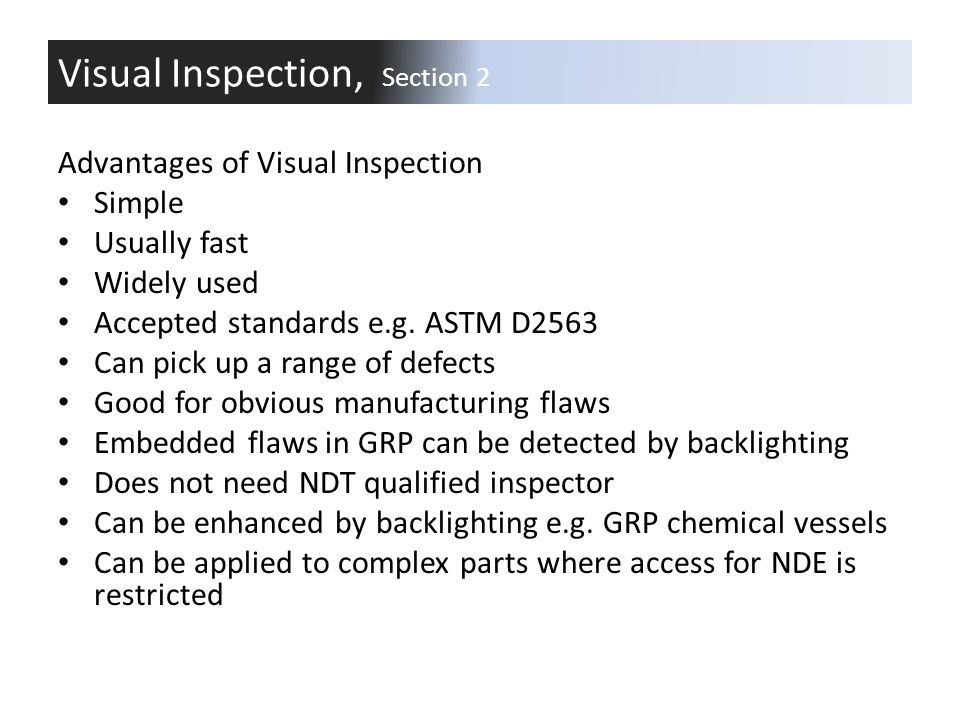 Visual Inspection, Section 2