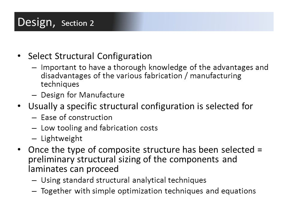 Design, Section 2 Select Structural Configuration