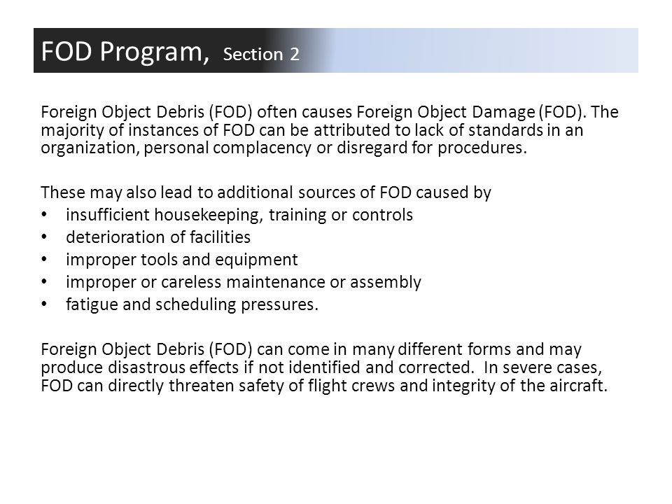 FOD Program, Section 2