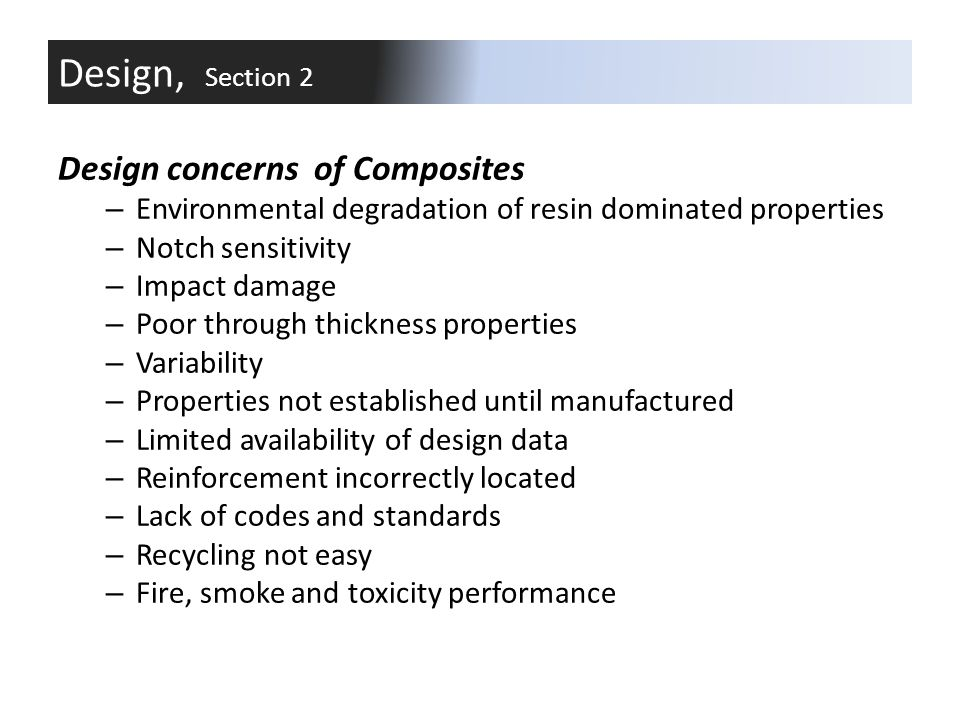 Design, Section 2 Design concerns of Composites
