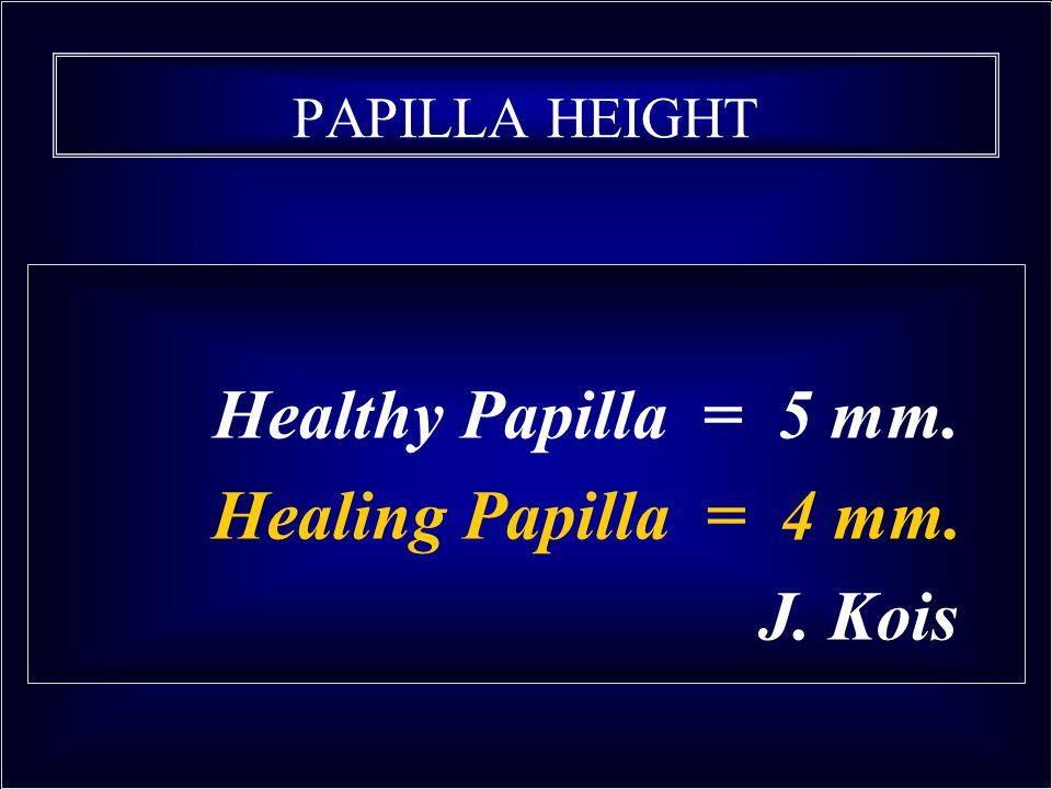 Healthy Papilla = 5 mm. Healing Papilla = 4 mm. J. Kois