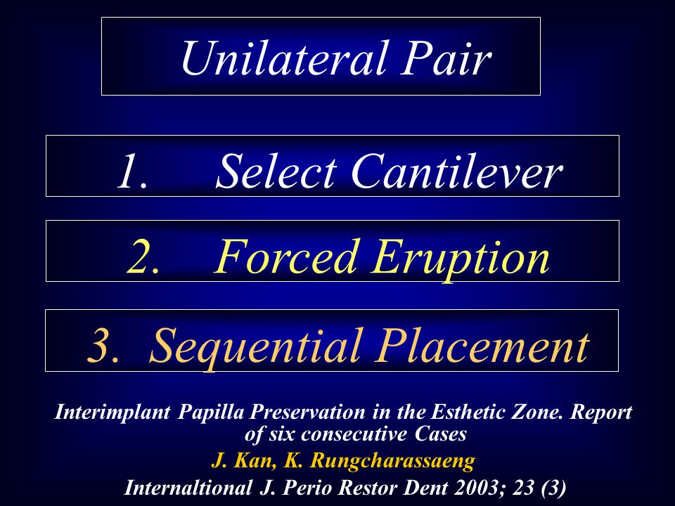 Unilateral Pair 1. Select Cantilever 2. Forced Eruption