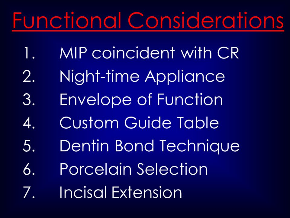 Functional Considerations