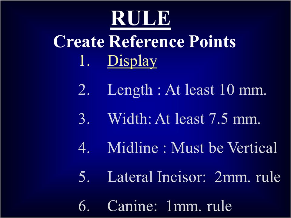 RULE Create Reference Points