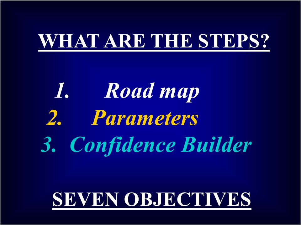 WHAT ARE THE STEPS. 1. Road map 2. Parameters 3. Confidence Builder
