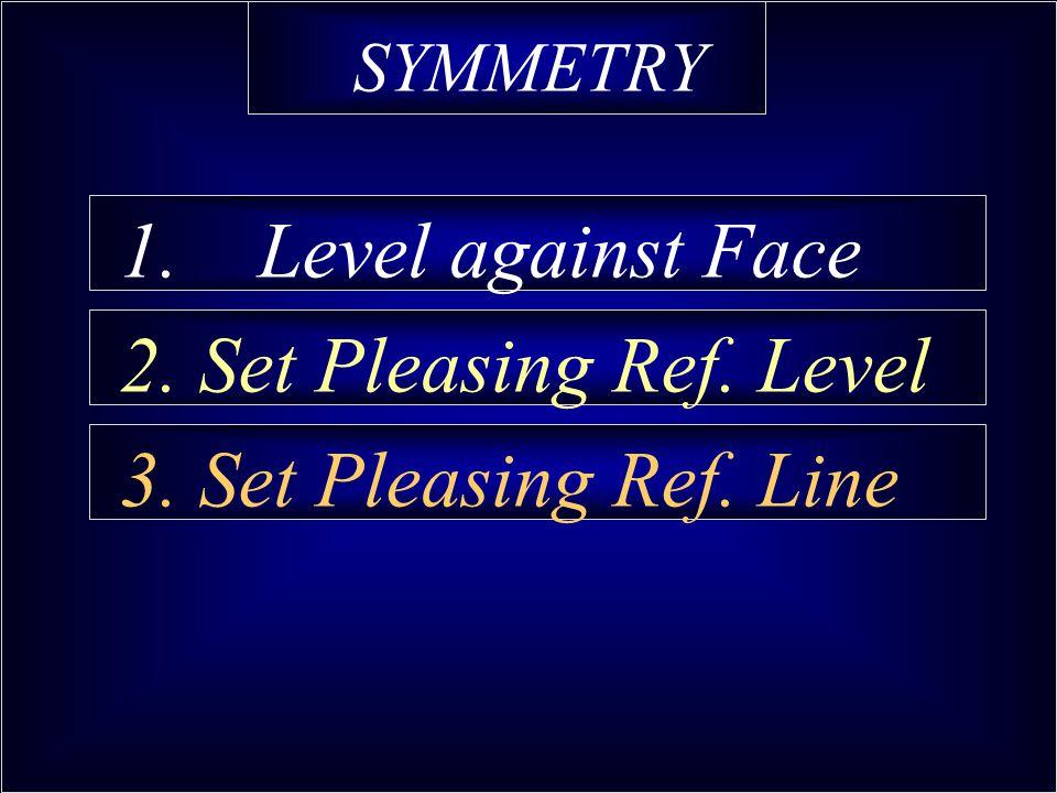 SYMMETRY 1. Level against Face 2. Set Pleasing Ref. Level