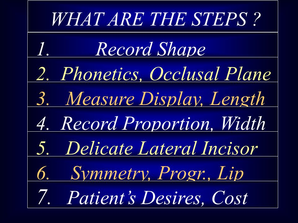 WHAT ARE THE STEPS 1. Record Shape 2. Phonetics, Occlusal Plane