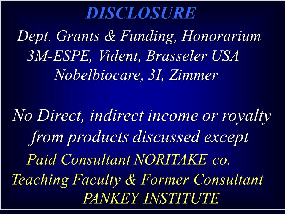 No Direct, indirect income or royalty from products discussed except