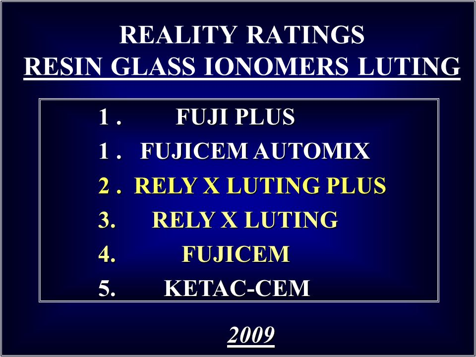 REALITY RATINGS RESIN GLASS IONOMERS LUTING