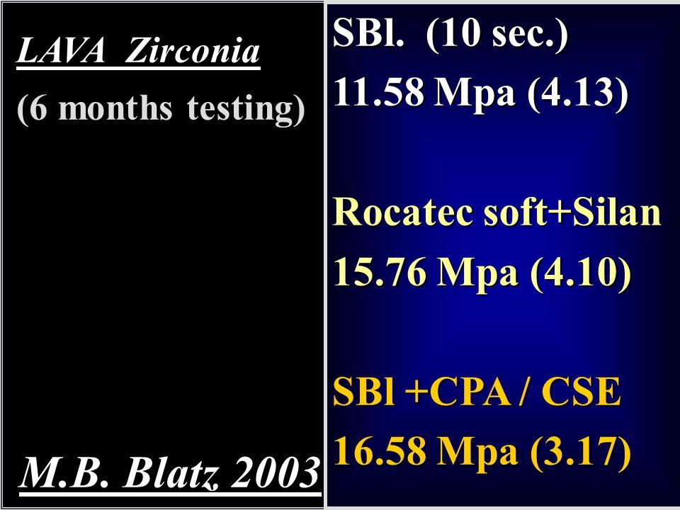 M.B. Blatz 2003 SBl. (10 sec.) 11.58 Mpa (4.13) Rocatec soft+Silan