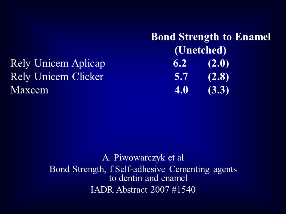 Bond Strength, f Self-adhesive Cementing agents to dentin and enamel