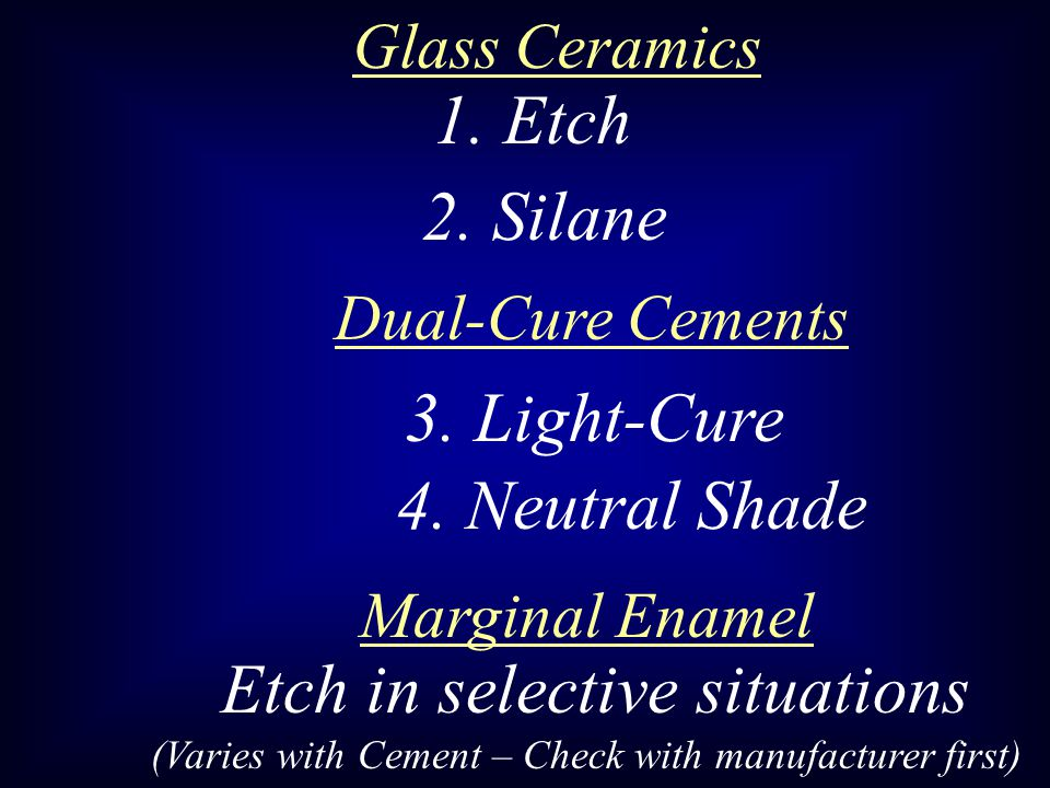 1. Etch 2. Silane 3. Light-Cure 4. Neutral Shade