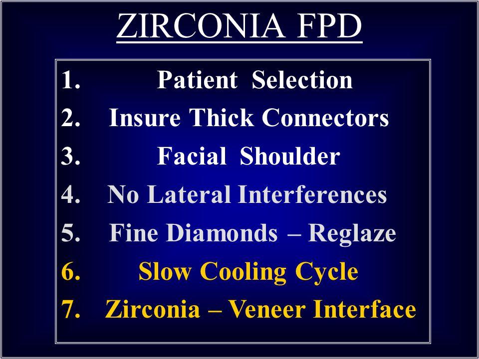 ZIRCONIA FPD 1. Patient Selection Insure Thick Connectors