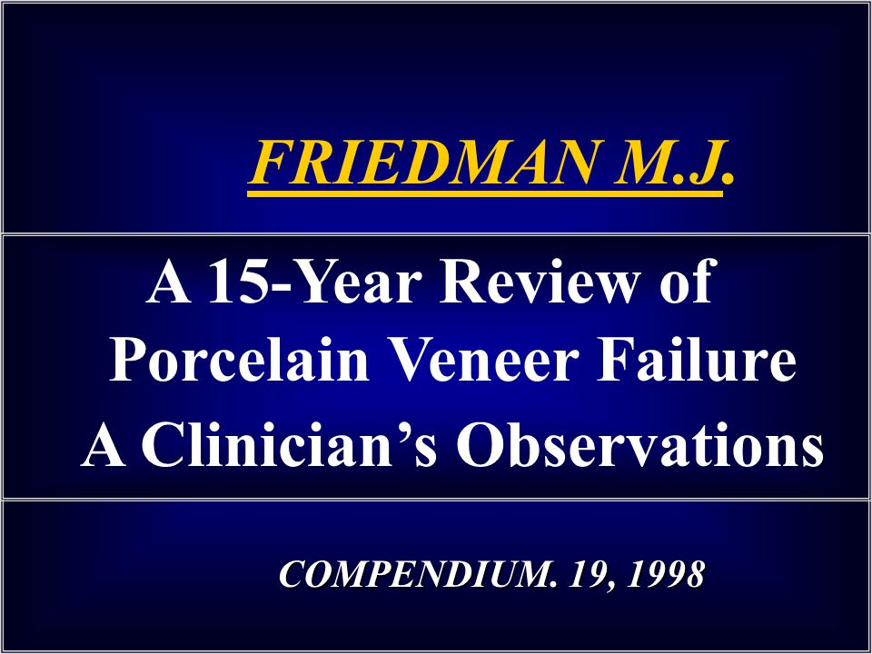 FRIEDMAN M.J. A 15-Year Review of Porcelain Veneer Failure A Clinician's Observations.