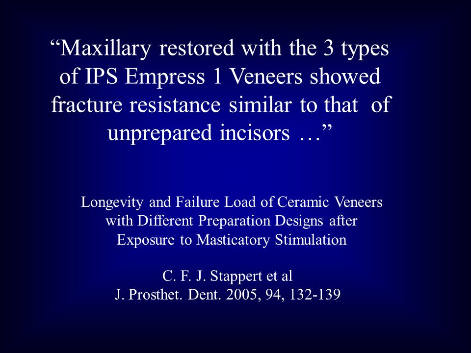 Maxillary restored with the 3 types of IPS Empress 1 Veneers showed fracture resistance similar to that of unprepared incisors …