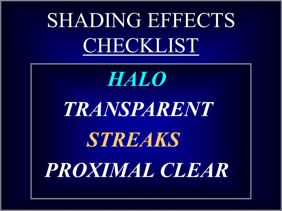 SHADING EFFECTS CHECKLIST