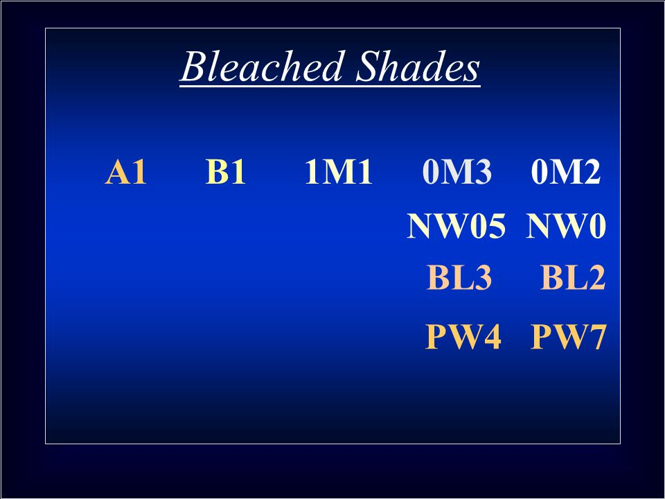 Bleached Shades A1 B1 1M1 0M3 0M2 NW05 NW0 BL3 BL2 PW4 PW7